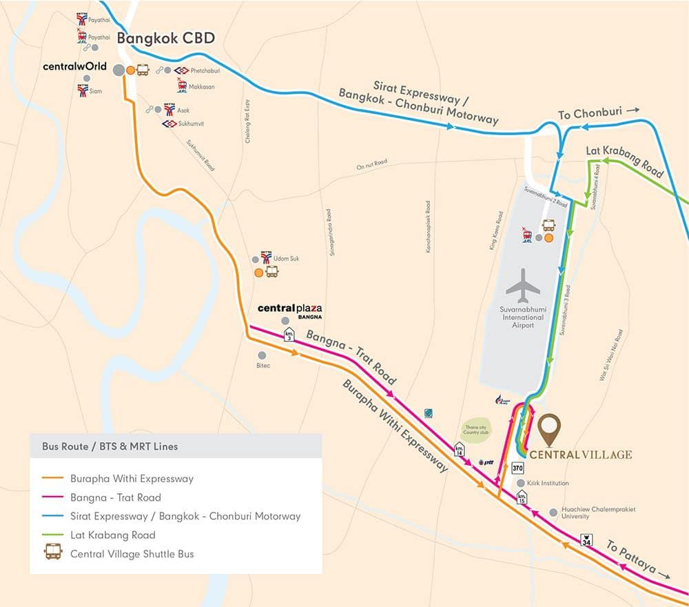 Central Village Outlet Map เซ็นทรัล วิลเลจ เดินทางไปยังไง มีอะไรขายมั่ง